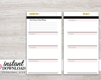 Planner Printable - Weekly Inserts - Monday or Sunday Start - Filofax Pesronal - 3.75 x 6.75 in - Free Stickers - Design: Goldie