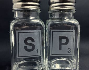 Salt and Pepper Shaker ~ Etched Salt and Pepper Shaker ~ Scrabble inspired Salt and Pepper Shaker