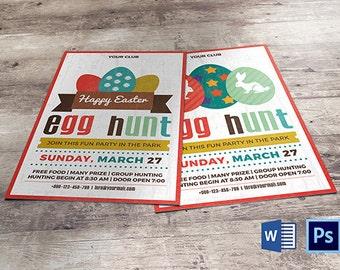 Easter Egg Hunt Party Invitation Template | Easter Flyer | Instant download File