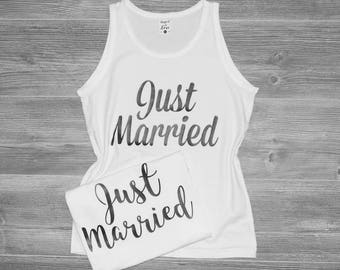 Just Married Tank, Honeymoon Tank Top, Just Married Tank Top, Just Married T-shirt, Wifey Tank Top, MRS. Tank Top, Soft Cotton Wifey Top