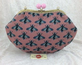 Bees Grace frame handbag purse clutch bag fabric handmade in England