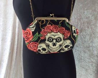 The Alice Gothic Rose Tattoo skulls frame bag Alexander Henry design fabric small Frame handbag purse makeup bag handmade in England