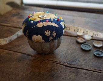 Navy and Yellow Pincushion with heart in Vintage Jellow Mold Tin and Vintage Button Trim, Sewing Gift, Seamstress Gift