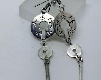 silver dangle earrings,silver earrings,triple earrings,silver jewelry,tribal earrings,gypsy earrings,boho earrings,bohemian jewelry,