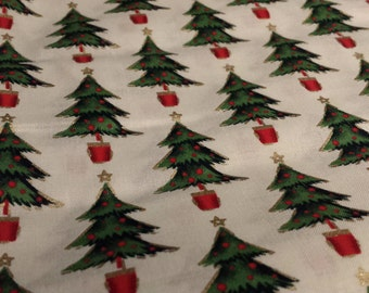"Christmas Tree Fabric Remnant, 1yd x 45"" W"