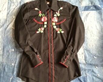Vintage Black Western Shirt - Red Rose Cowboy Shirt