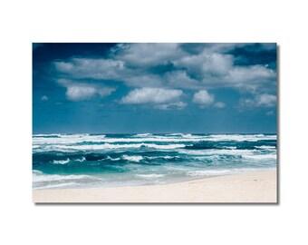 Blue Ocean Print, Wave North Shore, Sea Artwork print, Nautical Ocean Artwork, Sea decor print, Blue white beige wall decor, Lustre print