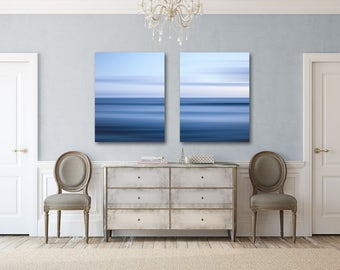 Diptych Abstract Ocean Breeze Canvas Wrap, Blue White Nautical Ocean Two Canvas Gallery Wraps, Hall Wall decor, Set of Two Split Canvas art