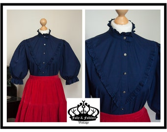 70s Navy Blue Cotton Edwardian Style Dirndl Blouse with Puff Sleeves, Size M / L