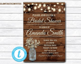 Rustic Bridal Shower Invitation, Rustic Invitation, Mason Jar invitation, Flower Invitation, Bridal Shower Invitation, Wood Invitation