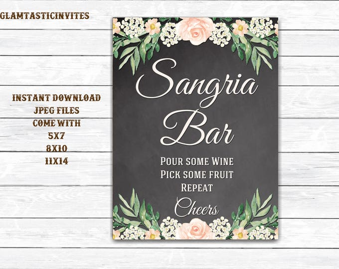 Sangria Bar Sign, Bar Sign, Chalkboard Wedding Sign, Printable Sign, Shower Sign, Rustic Wedding, Sangria Sign, Digital Sign, Sangria Bar