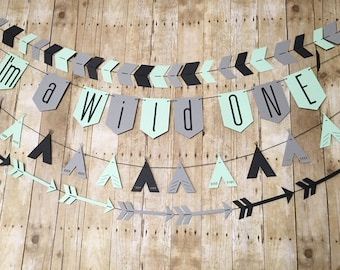 Set of 4 WILD ONE banners - Tribal Banners- Wild ONE banner- Arrow Banner - Tribal Party- TeePee Banner- Arrow- Tribal- Boho- Aztec Party