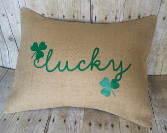 St. Patrick's Day pillow- march pillow- St. Patrick's Day- St Patrick's Day decoration- lucky pillow- burlap St. Patrick's- St. Patty'd Day