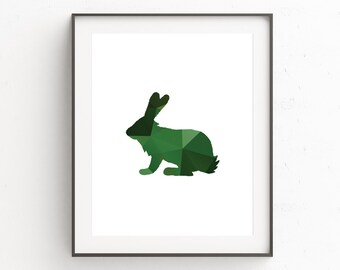 Rabbit Wall Print, Woodland Nursery Wall Prints, Animal Wall Print, Woodland Nursery Decor, Rabbit Wall Art