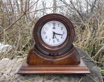 Wood clock Wooden clock Wood watch Mantel clock Table clock chiming clock Office hours Alarm clock desk clock