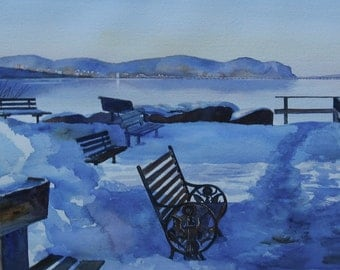 Watercolor Landscape, Original Watercolor, Hudson River Painting, 14 x 21 inches