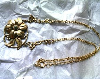 ART DECO Symettalic Vintage Genuine Blue Zircon Sterling Silver & 14k Gold necklace