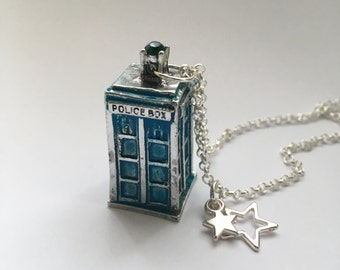 Police Box - battered blue police call box necklace. Telephone box. Inspired by Dr who. Tardis