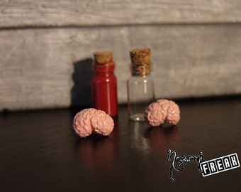 Human brain earrings-human brain earrings-Fimo earrings-anatomy