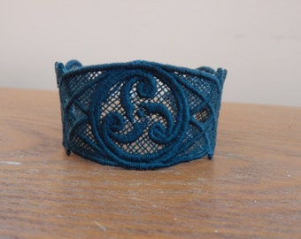 Lace Celtic Bracelet, Embroidery, Irish Jewelry, St Patricks