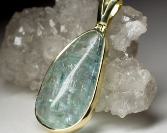 Aquamarine Gold Pendant art 7663 | Natural Organic Blue Russian Beryl Aquamarine Gemstone 14K Gold Necklace Fine Jewelry