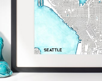 Seattle Watercolor and Ink Streets Map / Lake Union Wall Art