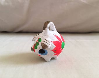 Vintage Miniature Mexican Folk Art Painted Clay Pig