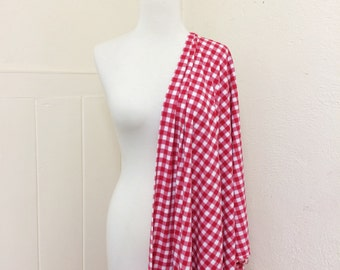 Swimwear Fabric // Red + White Gingham // Checkered // Vintage Style