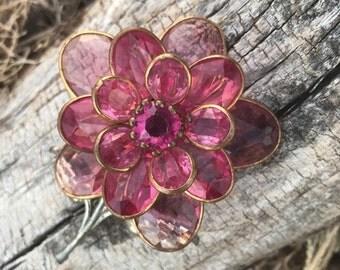 Vintage Pink Flower Brooch, Flower Brooch, Pink Brooch, Pin, Jewelry, Gift