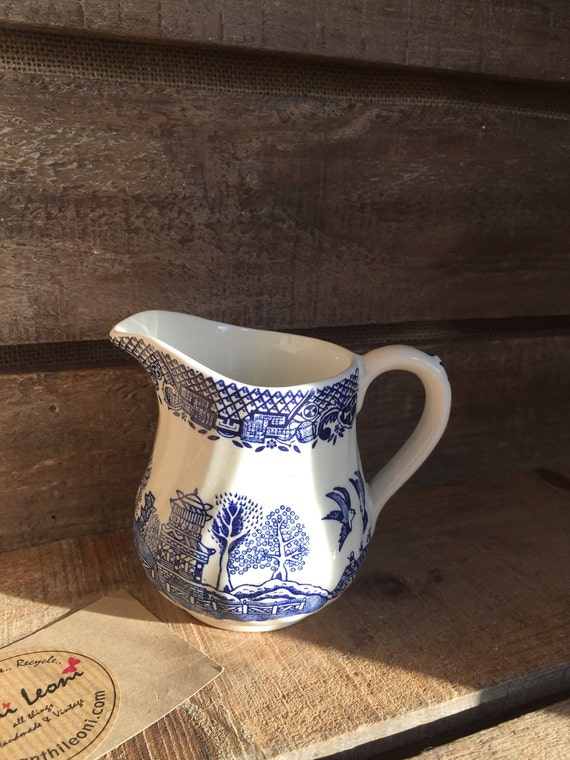 Vintage Blue and White Willow Pattern Barratts Staffordshire Pottery Creamer Jug - Circa 1970s