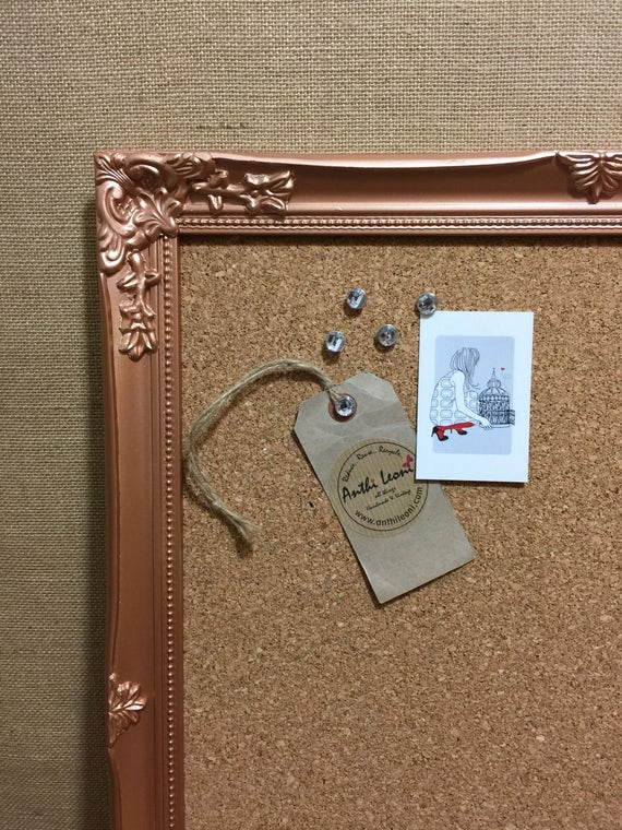 COPPER FRAMED CORK Board - Rose Gold Push Pin Board - Copper Ornate Cork Vision Board - Rose Gold Framed Message Board - Copper Notice Board