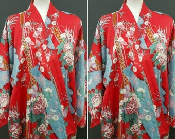 Outstanding traditional silky soft red and blue kimono