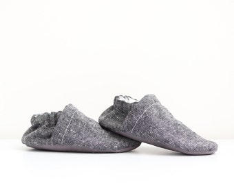 Metallic Black/Grey Linen - Handmade Booties