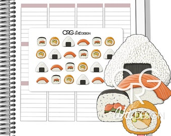 Sushi Stickers Style 2 | Planner Erin Condren Plum Planner Filofax Sticker