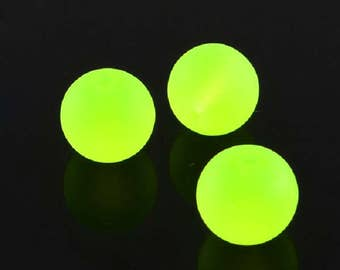"Frosted Neon Yellow/Green 6mm Round Glass Beads (30"" Strand)"