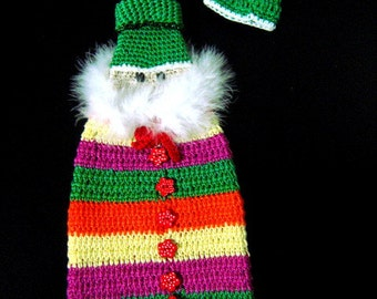 Crochet Cover for wine bottle, Christmas Cover bottle, Santa Claus cover, Red wine cozy, Decorazione Gilet bottiglia (Cod. 13)