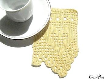 Crochet border, Yellow filet crochet border, Handmade lace trim, Bordino giallo uncinetto (Cod. 95)