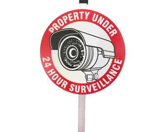 Camera Sign with Aluminum Stake