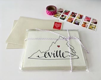 Charlottesville Cards / Charlottesville VA / UVA College Student Gift / Virginia Map Recycled Stationery