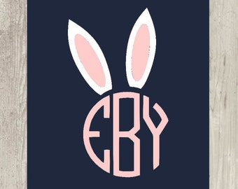 Easter Circle Monogram With Ears