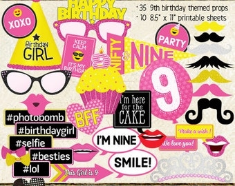 Photo Booth Props, HAPPY 9TH BIRTHDAY, girl, printable sheets, instant download, diy, party planning, pink, yellow