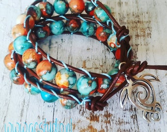 Beach bracelet, ibiza/hippie style, fossile beads, leather wrap bracelet, unique, handmade, jewelry by gc