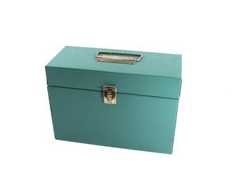 Vintage green metal file box - filing, storage, checks, clasp, handle, locks, army green, mid century, midcentury, gold-tone hardware