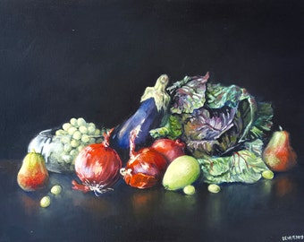 Still Life in Red and Green Original Oil Painting