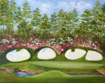 "Gift/ Landscape painting masters golf/""  In Full Bloom"" Augusta National/ Golf /Oil Painting/ Masters Golf /  flowers/ azaleas/"