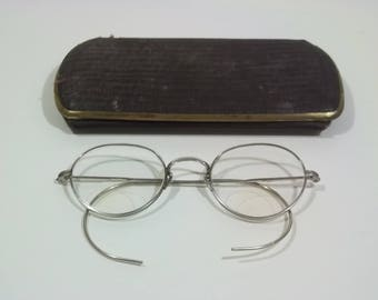 Antique Eyeglasses ARTCRAFT 1/10 12K GF Gold Filled Full Rim Frames Vintage 1910s-1920s Old Glasses w/Original Hard Eye Glass Case E1 MA7114