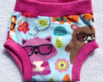 Fleece Diaper Cover - Nerdy Forest Animals