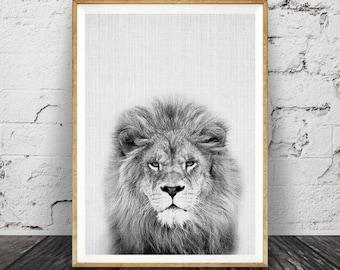 Lion Print, Nursery Animal Wall Art, Safari Decor, Kids Room Printable Instant Digital Download, ...