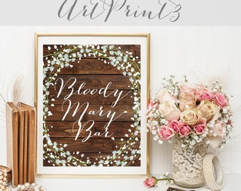 Bloody Mary Bar Sign Printable, Rustic Wedding Sign Printable, Barn Wood Wedding Sign Printable, Bloody Mary Wedding Printable Party Decor