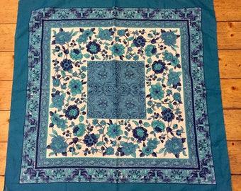 Square Scarf. Blue Floral & Geometric Design. Italian. 1970's